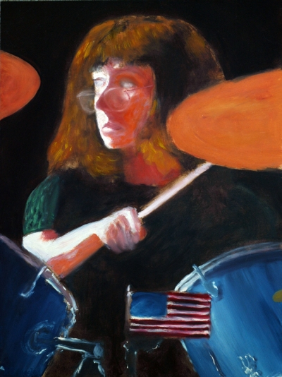 "Mlle. Evans at the Drum-Set / Daniel S. Masiel / 2015 / oil on canvas board / 16"" x 12"""